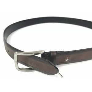 Tommy Hilfiger Size 44 Coated Leather Belt 2 Tone